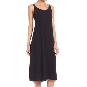 Eileen Fisher 100% Silk Black Tank Shift Dress